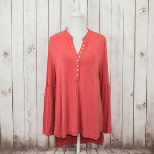 Soft Surroundings Women's Bell Sleeve Tunic Henley